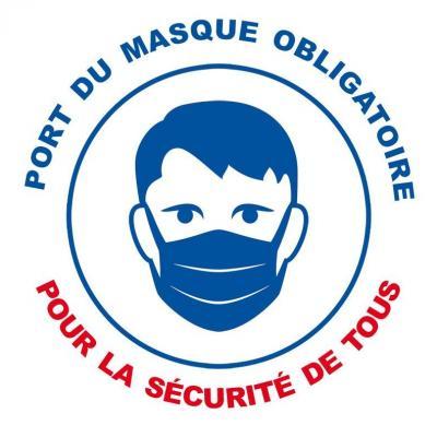 Sticker autocollant port du masque obligatoire pour la securite de tous